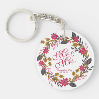 Personalized Floral Christmas Wedding Keychain