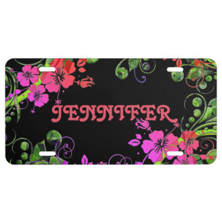 Personalized Floral Design License Plate