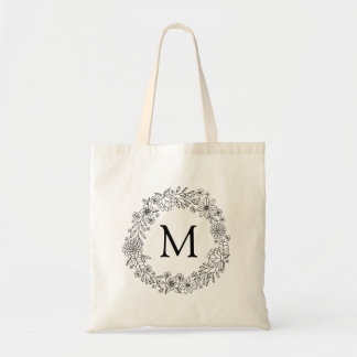 Personalized | Floral Doodles Coloring Tote Bag