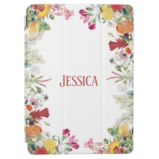 Personalized Floral Garden Colorful Flowers  iPad Air Cover