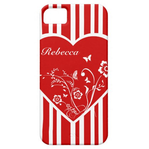 Personalized floral love heart and candy stripes iPhone 5 cases