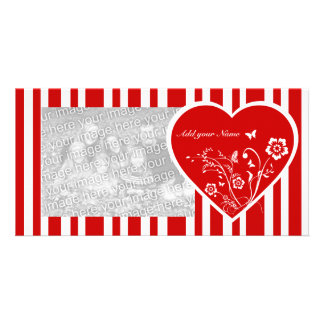 Personalized floral love heart and candy stripes photo card