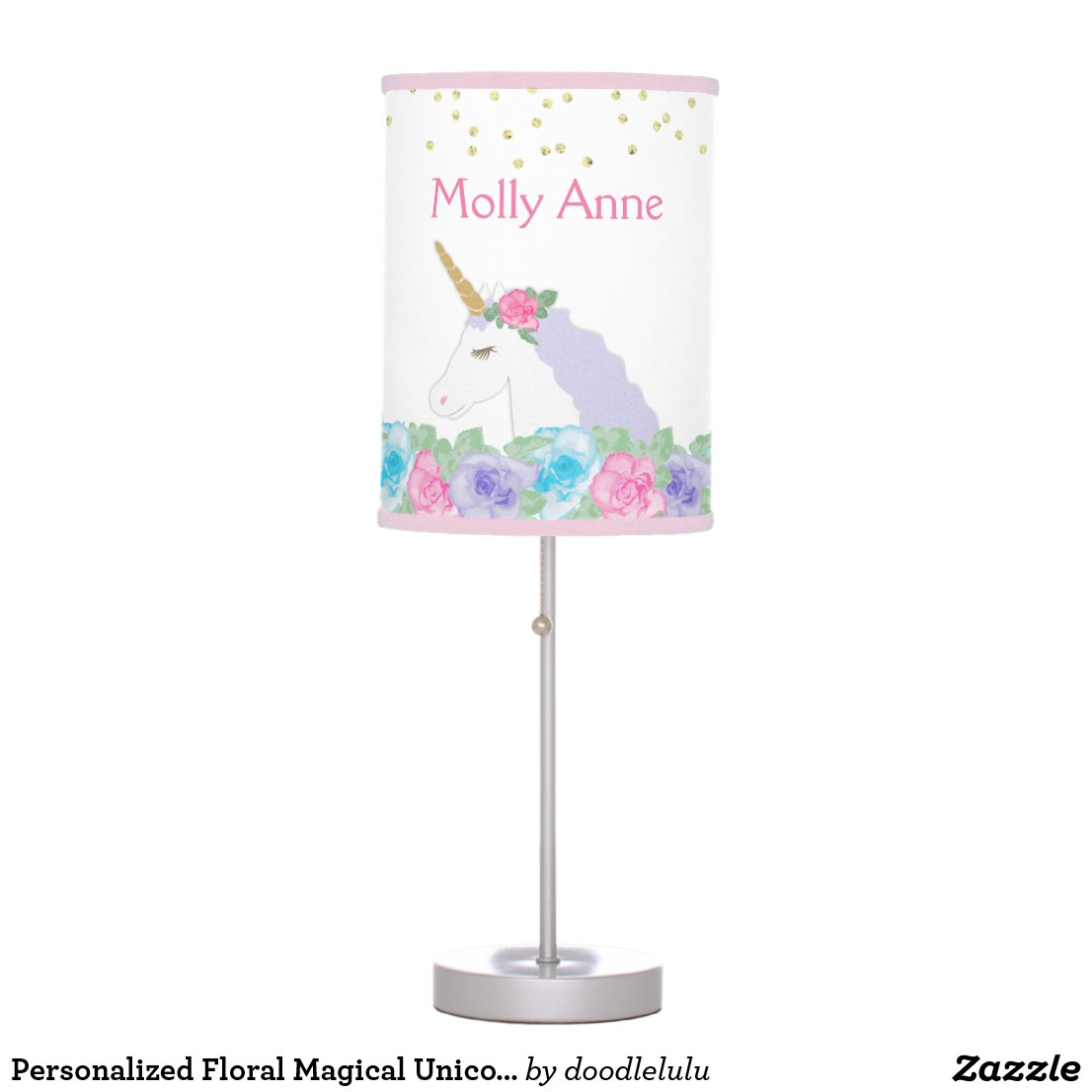 Personalized Floral Magical Unicorn table Lamp