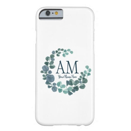 Personalized Floral Monogram Turquoise Leaves Barely There iPhone 6 Case