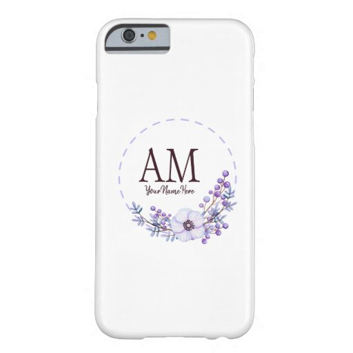 Personalized Floral Monogram Violet Berries Barely There iPhone 6 Case