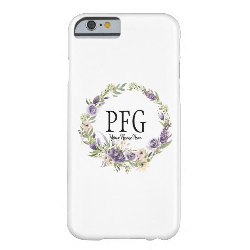 Personalized Floral Monogram Violet Wildflowers Barely There iPhone 6 Case