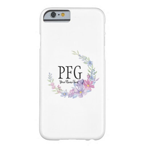 Personalized Floral Monogram Watercolor Flowers Barely There iPhone 6 Case