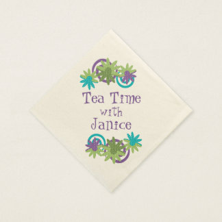 Personalized Floral Paper Napkins - Tea Time