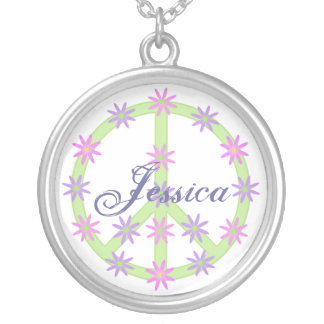 Personalized Floral Peace Sign Necklace