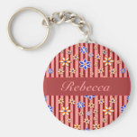 Personalized Floral pink red blue orange pattern Key Chains