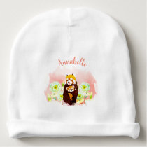 Personalized Floral Red Panda Baby Cotton Beanie