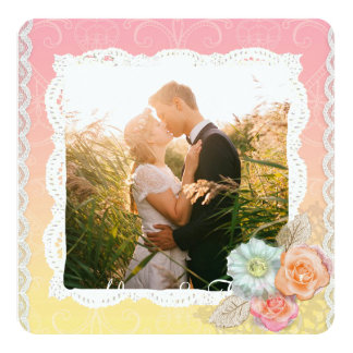 Personalized Floral Romantic Couple's Photo Card