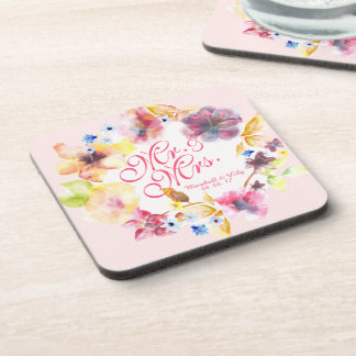 Personalized Floral Spring Wedding | Coaster