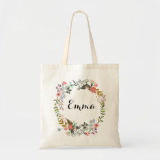 Personalized Floral Tote Bag at Zazzle