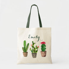 Personalized Floral Tote Bag Cactus at Zazzle