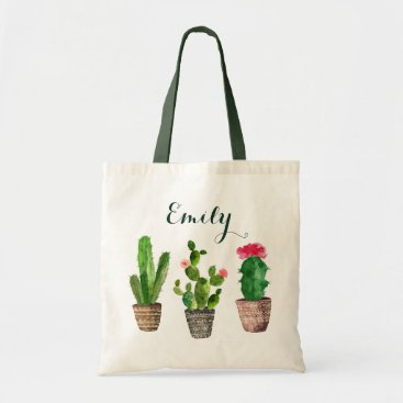 HannahMaria Personalized Floral Tote Bag Cactus