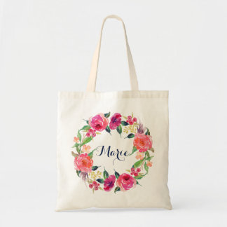 Personalized Floral Tote Bag. Wreath Bridesmaids.