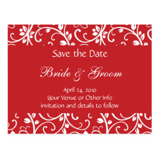 Personalized Floral Vine Save the Date Postcard
