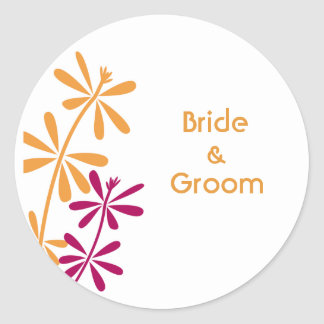 Personalized Floral Wedding Stickers