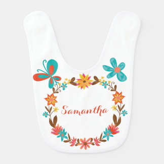 Personalized Floral Wreath Bib