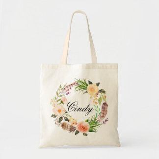 Personalized Floral Wreath Braidsmaid Tote Bag