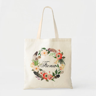 Personalized Floral Wreath Braidsmaid,Welcome3 Tote Bag