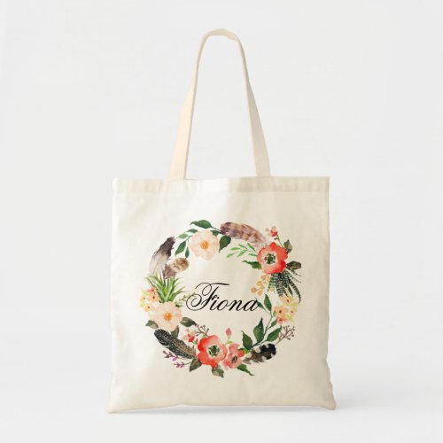 Personalized Floral Wreath BraidsmaidWelcome3 Tote Bag