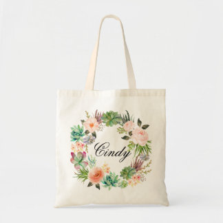 Personalized Floral Wreath Braidsmaid,Welcome Tote Bag