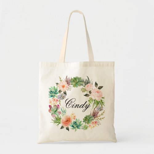 Personalized Floral Wreath BraidsmaidWelcome Tote Bag
