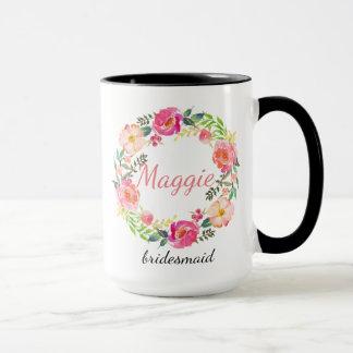 Personalized Floral Wreath Bridesmaid Mug