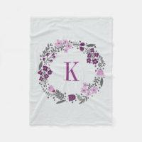 Personalized Floral Wreath & Monogram Lilac Grey Fleece Blanket