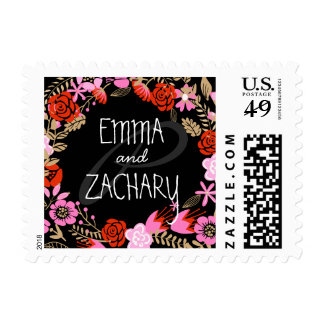 Personalized Floral Wreath Postage