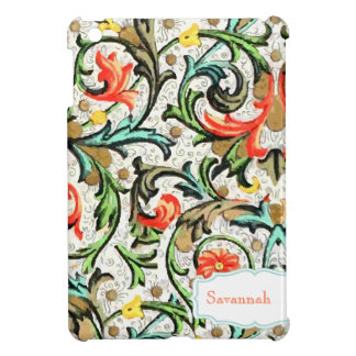 Personalized Floral Yellow Aqua Damask iPad Mini Case For The iPad Mini