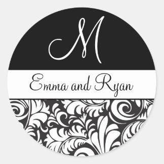 Personalized Flourish Black and White Stickers
