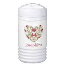 Personalized Flourish Heart beverage cooler