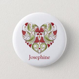 Personalized Flourish Heart Button