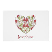 Personalized Flourish Heart Placemat
