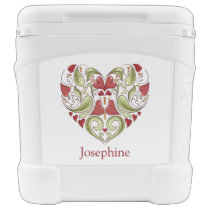 Personalized Flourish Heart Roller Cooler
