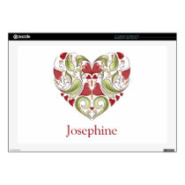 "Personalized Flourish Heart Skins 17"" Laptop Skin"