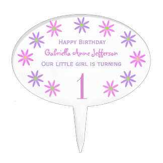 Personalized Flower: Birthday Party Cake Topper