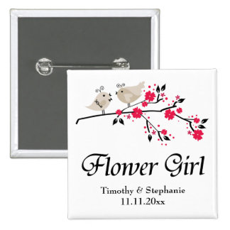 Personalized flower girl floral birds wedding pin
