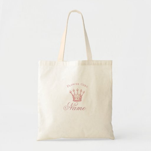Personalized Flower Girl gift - Pink Crown Canvas Bags