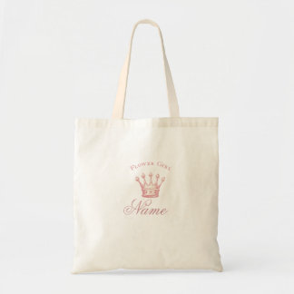 Personalized Flower Girl gift - Pink Crown Budget Tote Bag
