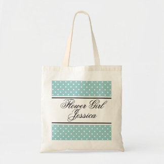 Personalized flower girl tote bag | Teal polka dot