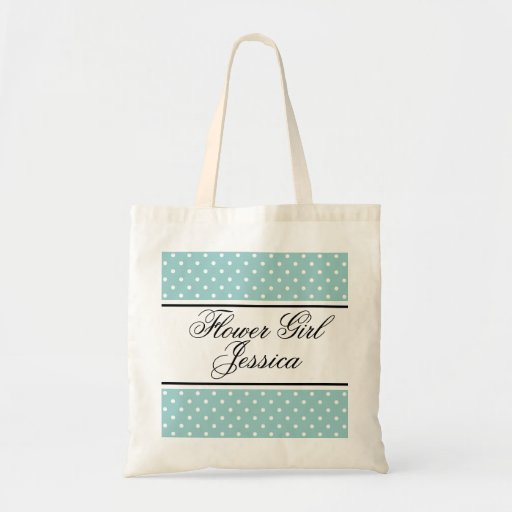 Personalized flower girl tote bag | Teal polka dot