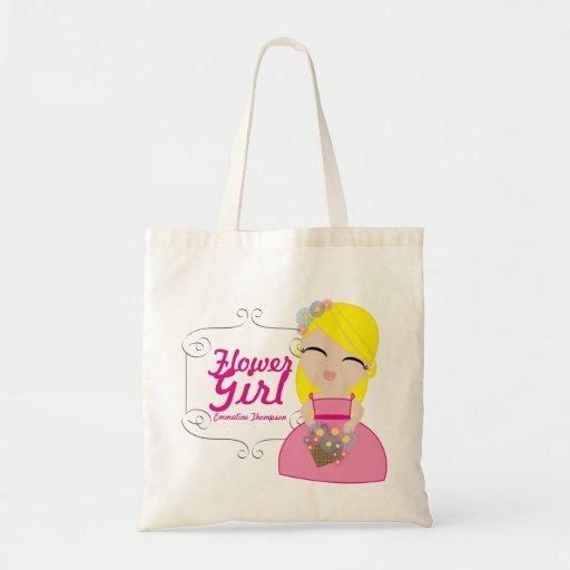 personalized FLOWER GIRL wedding keepsake gift 3 Canvas Bags