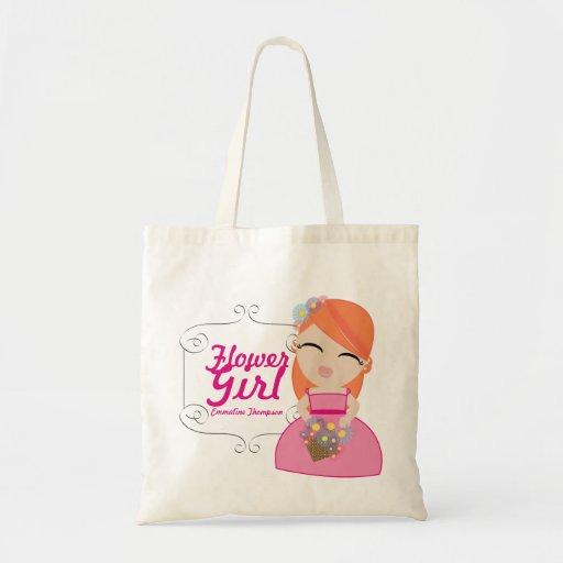 personalized FLOWER GIRL wedding keepsake gift 4 Tote Bags
