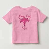 Personalized FLOWER GIRL with Big Pink Bouquet Toddler T-shirt