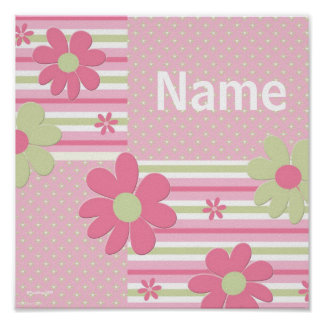 Personalized Flower Poster for Girls Room