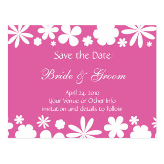 Personalized Flower Power Save the Date Postcard